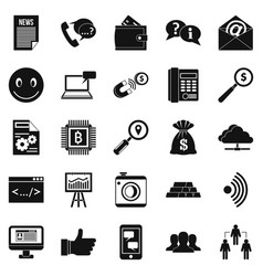 public relation icons set simple style vector image