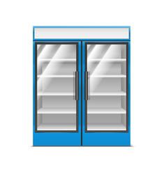 realistic detailed 3d blue supermarket freezer vector image