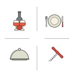 Restaurant kitchen items color icons set vector