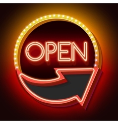 Retro neon sign with the word OPEN and arrow vector