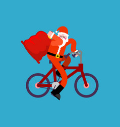 Santa claus on bicycle and red bag happy new year vector