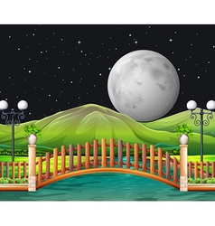 Scene with fullmoon and park vector