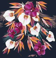 seamless on a tropical theme palm and orchids vector image