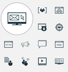 Seo icons set with website protection email vector