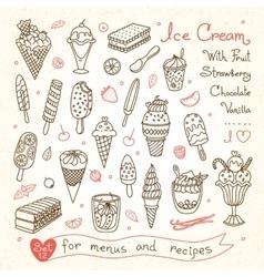 Set drawings ice cream for design menus vector