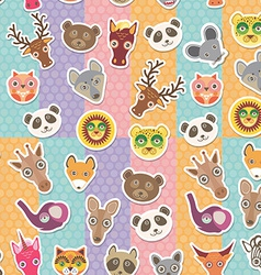 Set of funny animals muzzle seamless pattern vector image