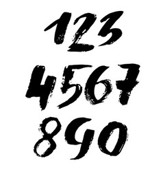 set of grunge handdrawn numbers modern dry brush vector image