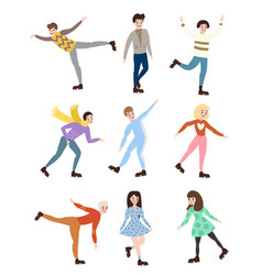 set of professional men and women figure skating vector image