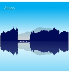 silhouette skyline of Annecy - France vector image