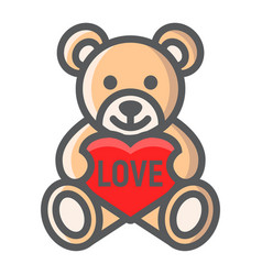 Teddy bear with heart filled outline icon vector