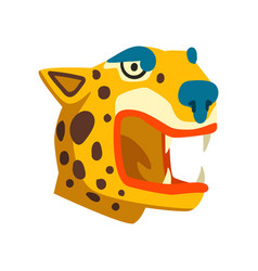 tiger head maya civilization symbol american vector image