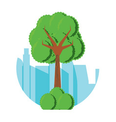 tree with bushes icon vector image