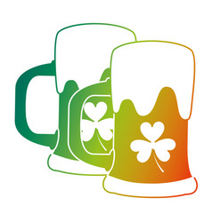 Two beer glass clover drink alcohol vector