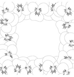 viola garden pansy flower outline border vector image