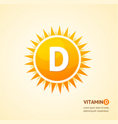 vitamin d sun label card background concept vector image