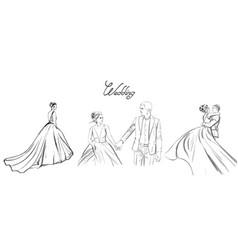 wedding couple line art set bride vector image