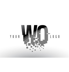 wo w o pixel letter logo with digital shattered vector image