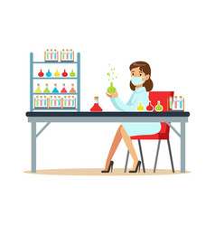 woman scientist in laboratory conducting vector image