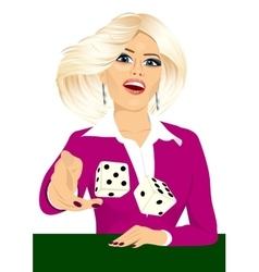 woman throwing the dice gambling playing craps vector image