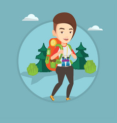 woman with backpack hiking vector image