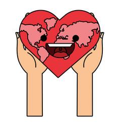world saving cartoon vector image