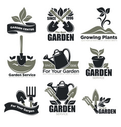 gardening service and garden plants vecotr icons vector image