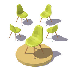 isometric green office chair vector image vector image