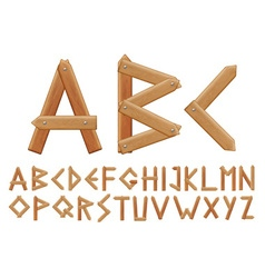 Letter made from wooden boards for your design vector image
