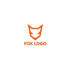 orange line fox logo vector image