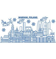poland warsaw winter city skyline merry vector image