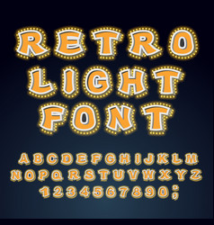 retro light font glowing letters alphabet with vector image