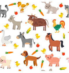 seamless pattern with farm animals vegetables and vector image