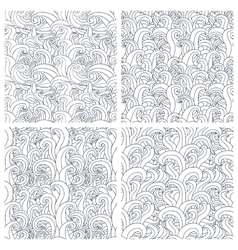 Set of four seamless pattern with abstract doodle vector image vector image