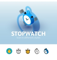 Stopwatch icon in different style vector image