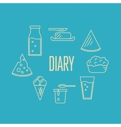 Dairy banner with milk products composition vector