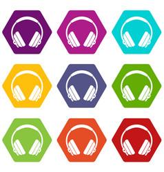 headphone icon set color hexahedron vector image