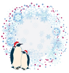 New Year frame with penguins vector image vector image