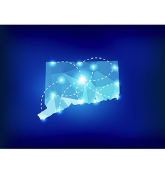 Connecticut state map polygonal with spot lights vector