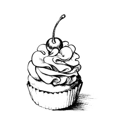 Hand drawn cupcake for coloring book vector image