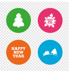 happy new year sign christmas trees vector image
