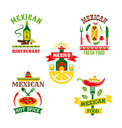 Icons set for mexican restaurant vector