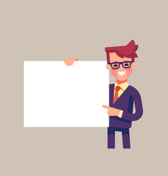 man holding blank sheet and pointing finger to it vector image