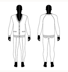 Mans black silhouette figure in a cardigan jeans vector