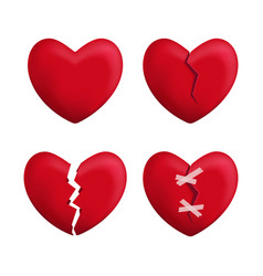 realistic detailed 3d red broken hearts set icons vector image vector image