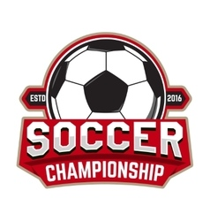 Soccer championship Emblem template with football vector image