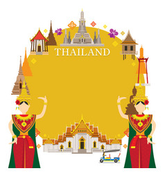 thailand landmarks traditional dance frame vector image vector image