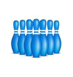 bowling pins in blue design with white stripes vector image