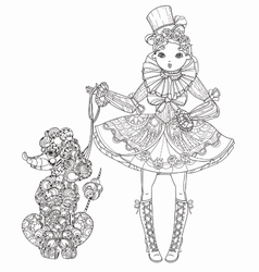cute fairy girl in flowers doodle vector image