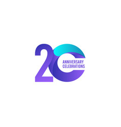 20 years anniversary celebration purple and blue vector