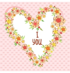 Abstract bright flowers in heart shape stylized vector image